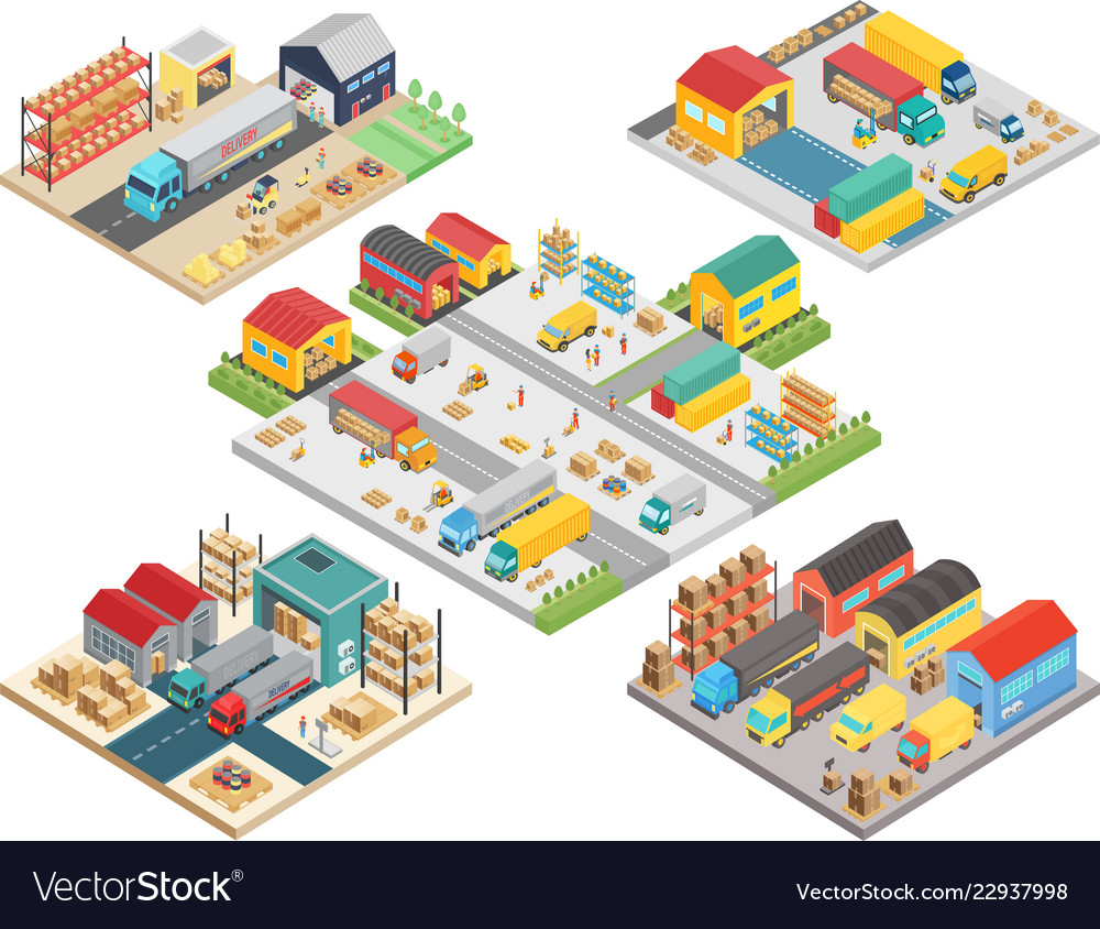 Warehouse isometric concept with workers