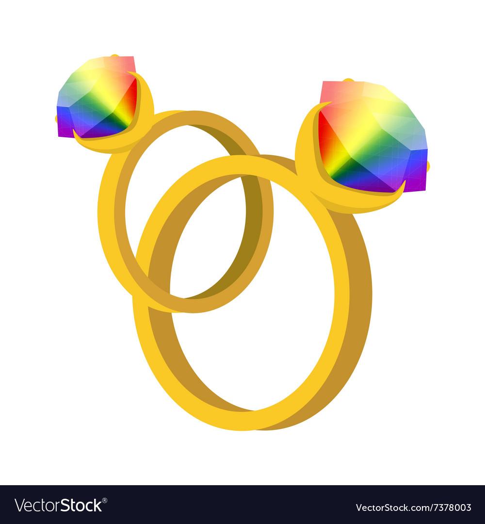 a pair of rings with rainbow diamonds cartoon icon