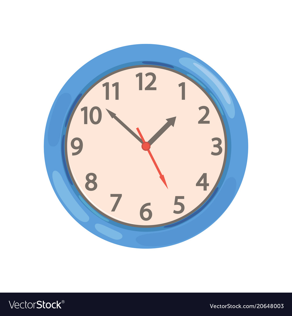 Blue round wall clock on a