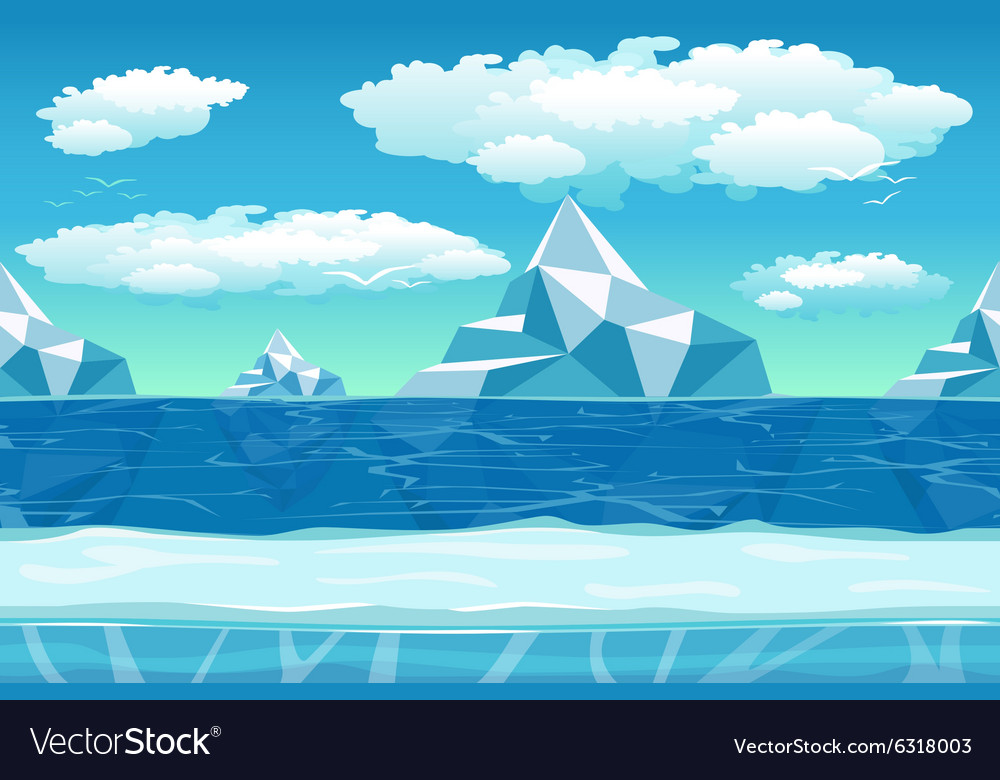Cartoon winter landscape with ice and snow