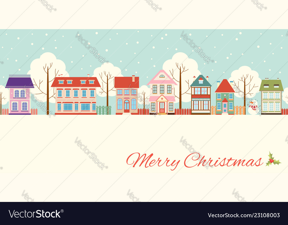 Christmas card with cute cottages in victorian