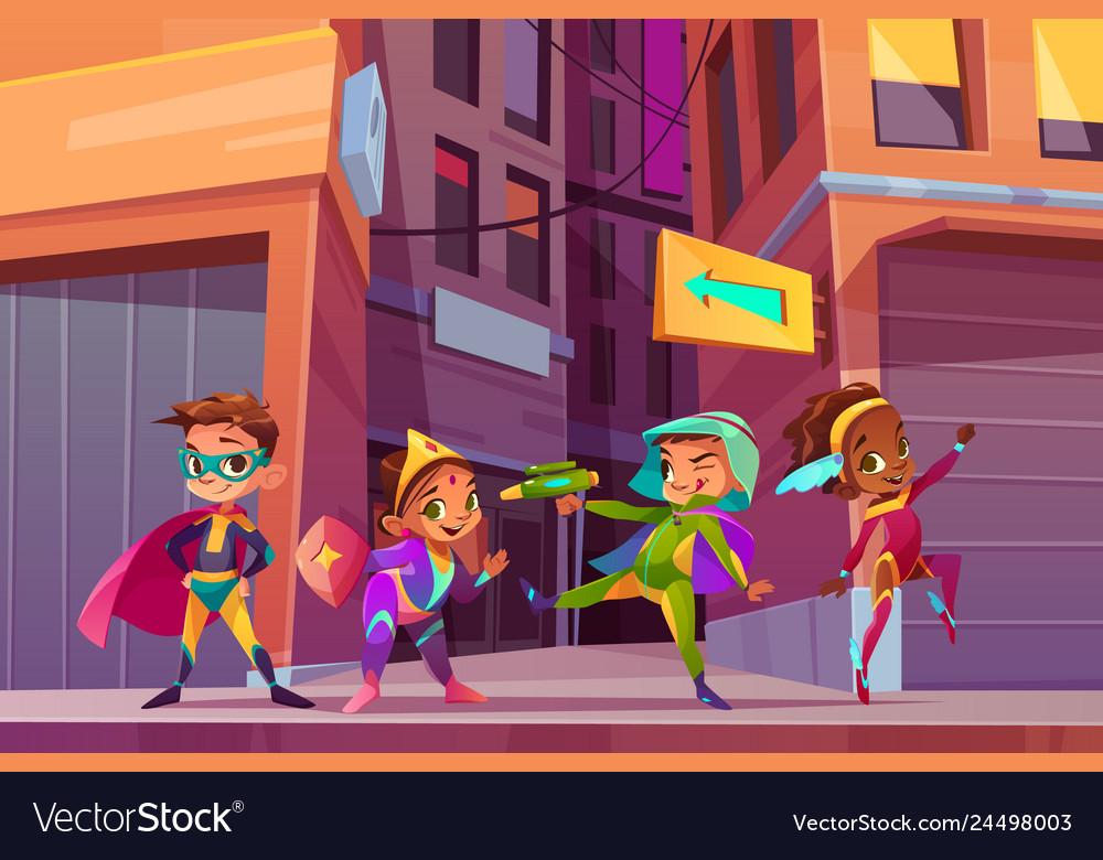 City children superheroes cartoon concept