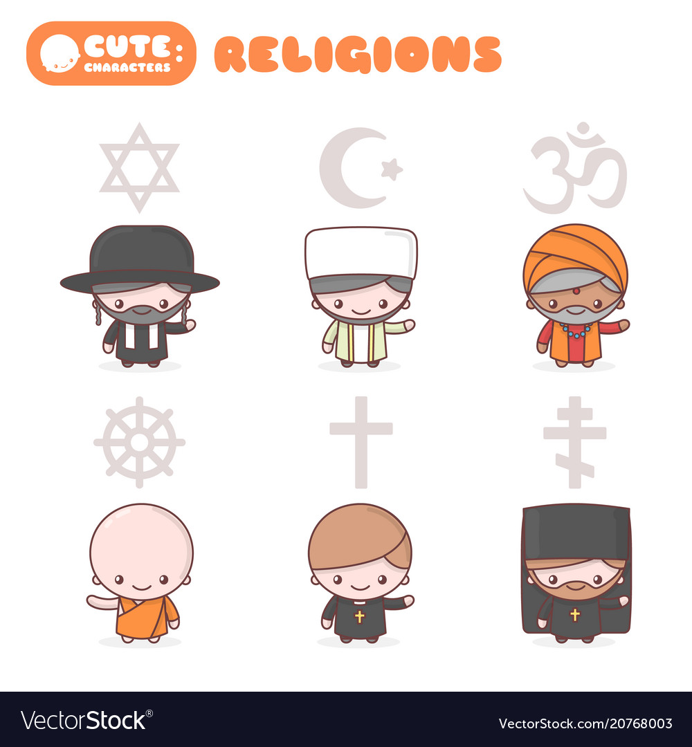 Cute characters people different religions