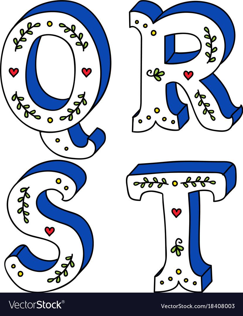 Cute doodle alphabet letters calligraphy