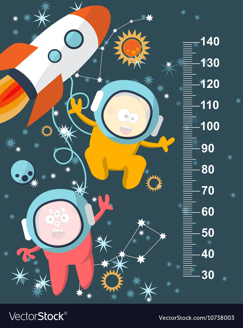Funky monsters with a missile in space against the vector image