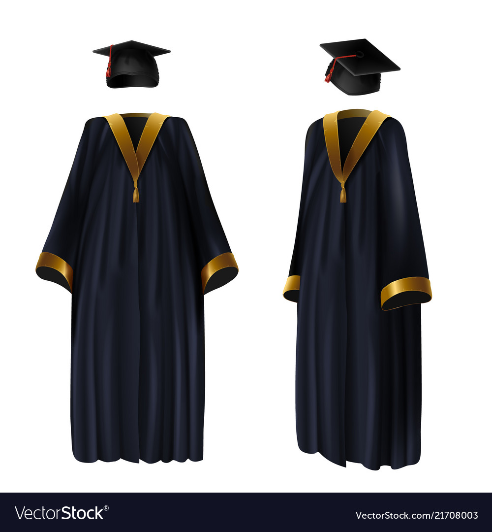 Graduation clothing gown and cap Royalty Free Vector Image