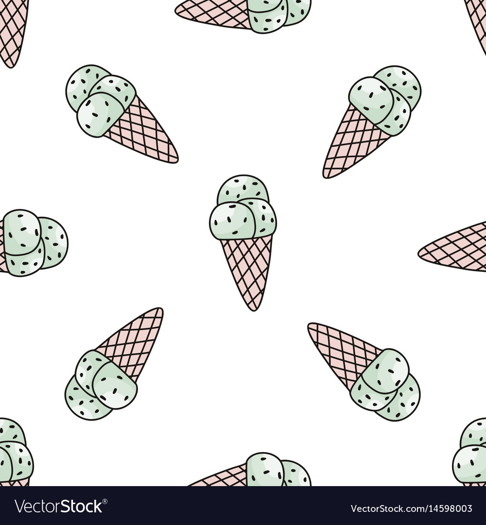 Seamless pattern with mint ice cream trendy vector image