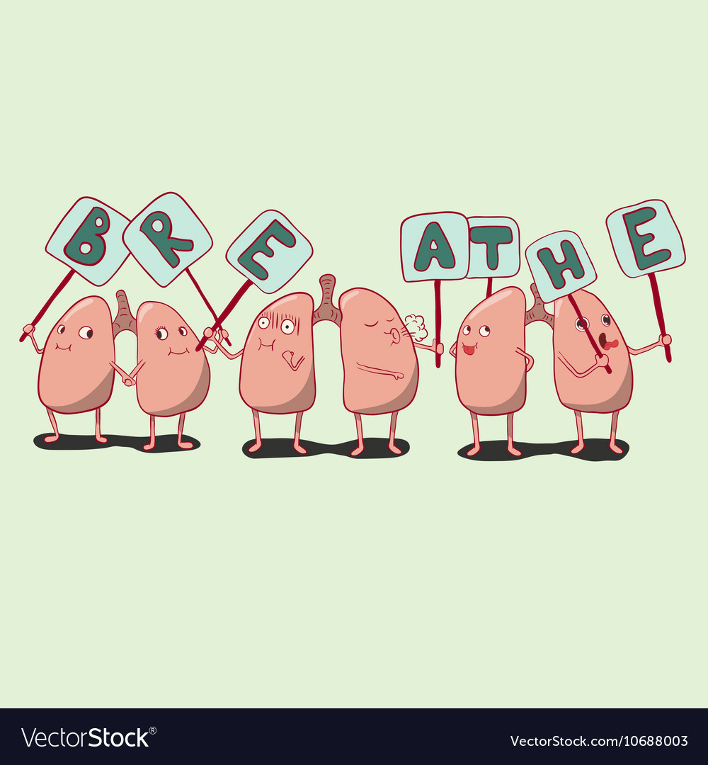 Set of cartoon lungs characters with plates lungs vector image