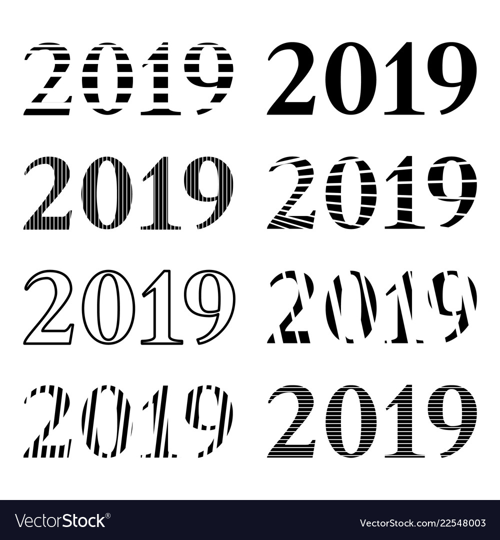 Set of inscription 2019 in different variations