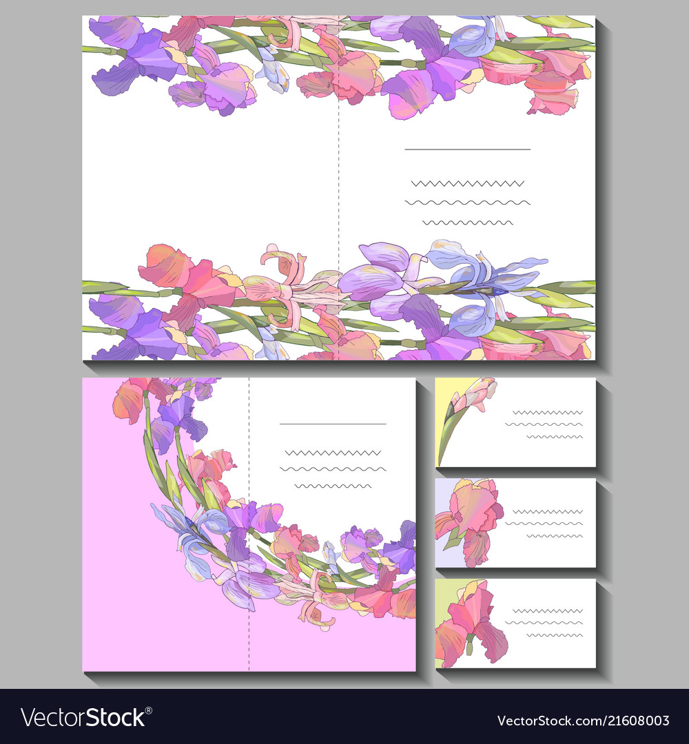 set with floral romantic templates royalty free vector image