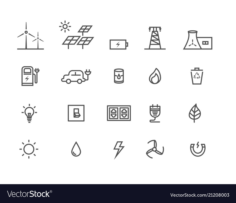 Simple set by power source of energy thin line