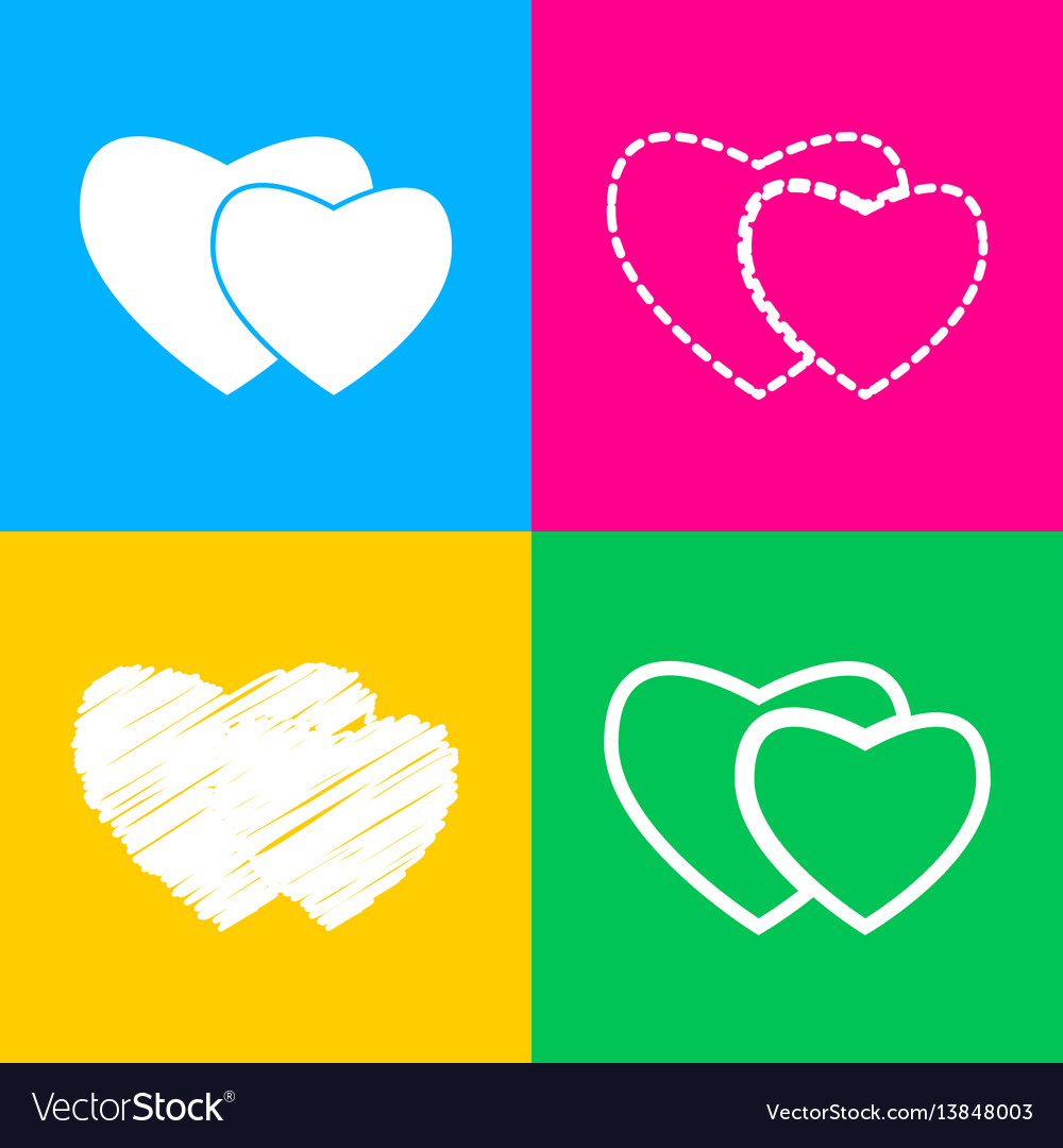 Two hearts sign four styles of icon on four color
