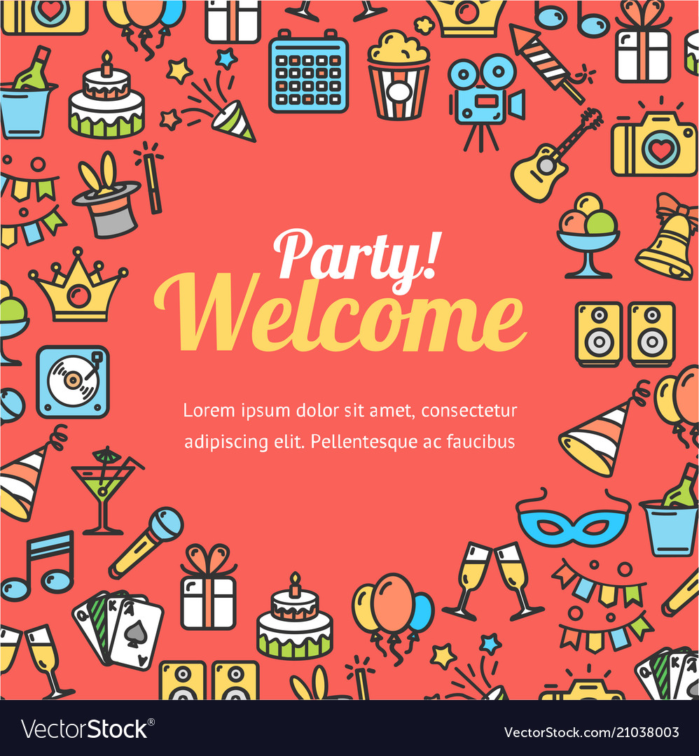 Welcome party invitation card Royalty Free Vector Image