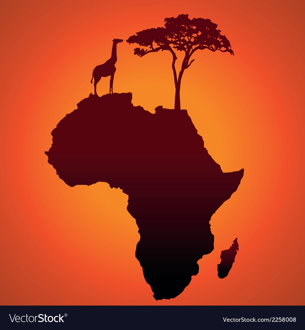 African Safari Map Silhouette Background Vector Image