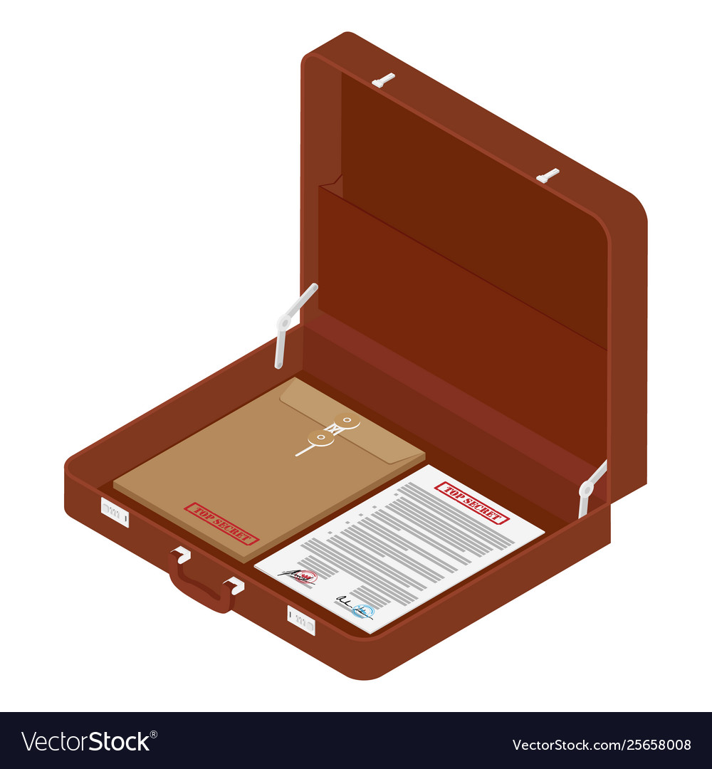 Brown briefcase with top secret documents