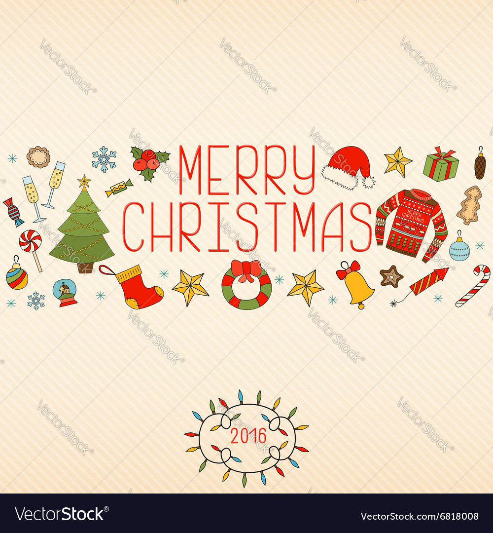 Christmas decorations Hand drawn elements vector image