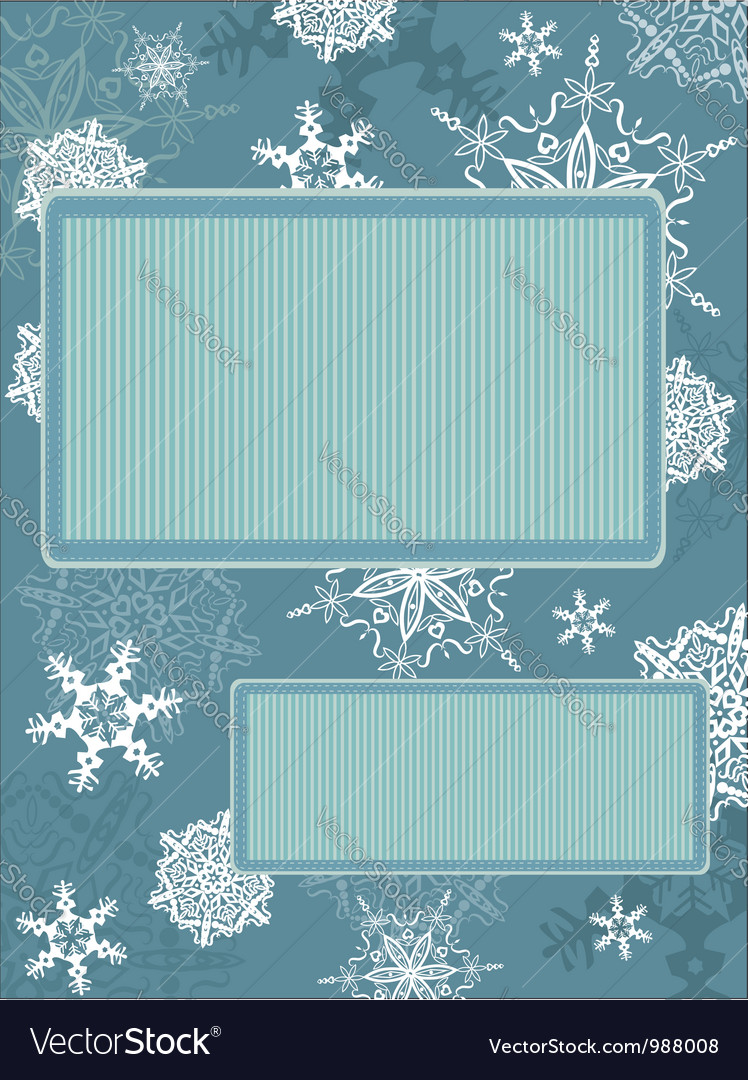 Christmas vintage frame with snowflakes