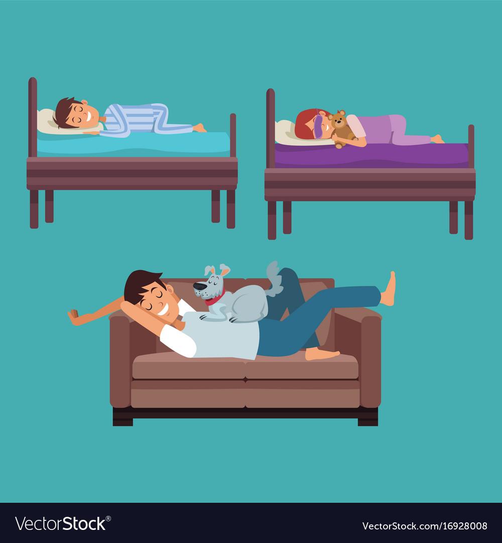 Astounding Colorful Set Scene Man Sleep In Sofa And Children Machost Co Dining Chair Design Ideas Machostcouk