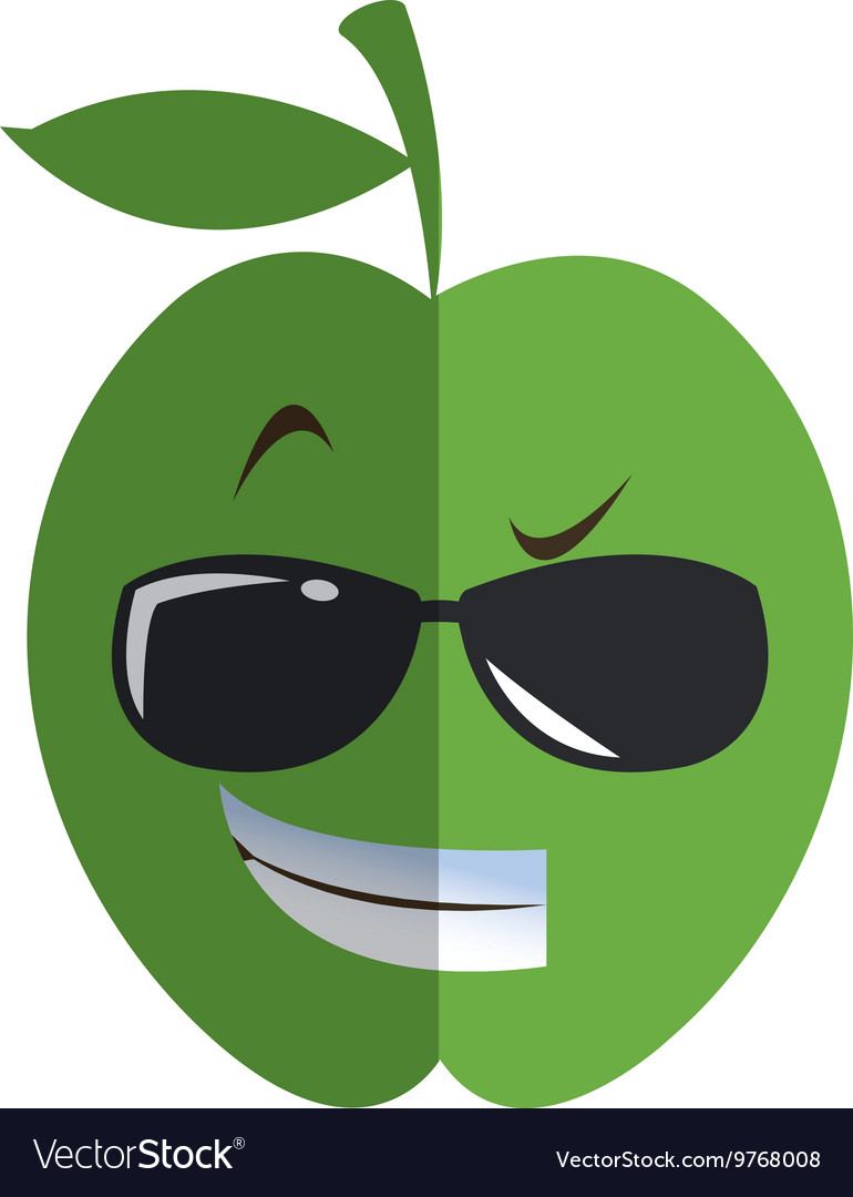 7d2796a58baf5 Cool sunglasses apple cartoon icon Royalty Free Vector Image