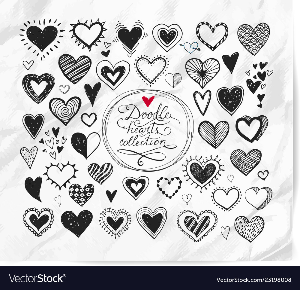 Doodle hearts on realistic white paper background