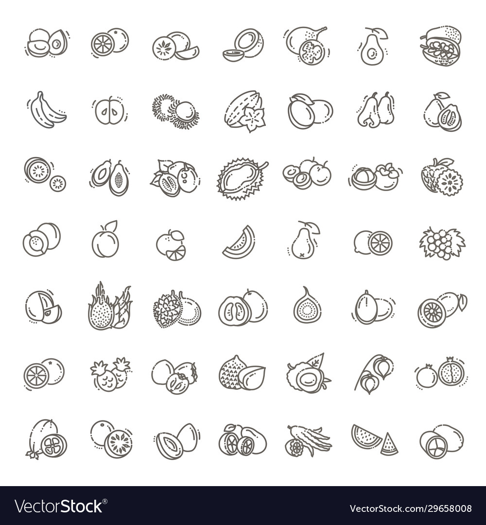 Fruits exotic fruits vegetarian - flat icon set