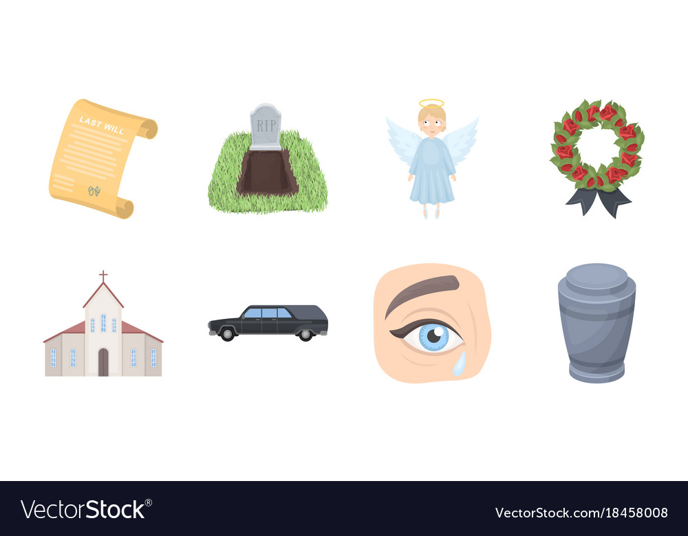 Funeral ceremony icons in set collection for