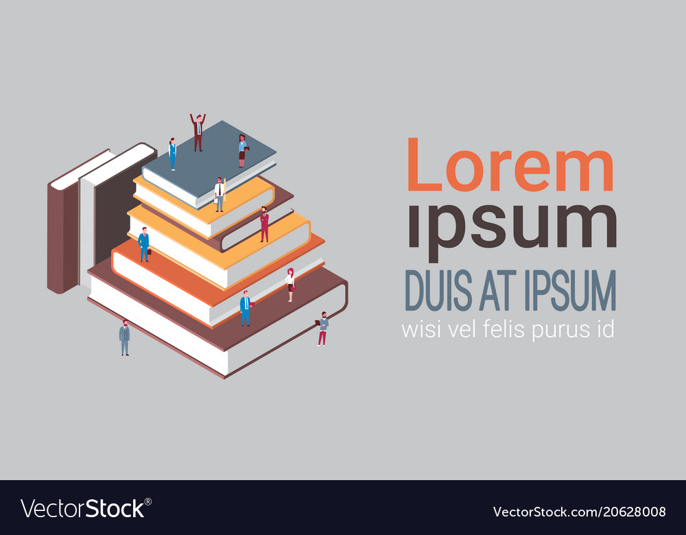 Group of business people at stack of books vector image