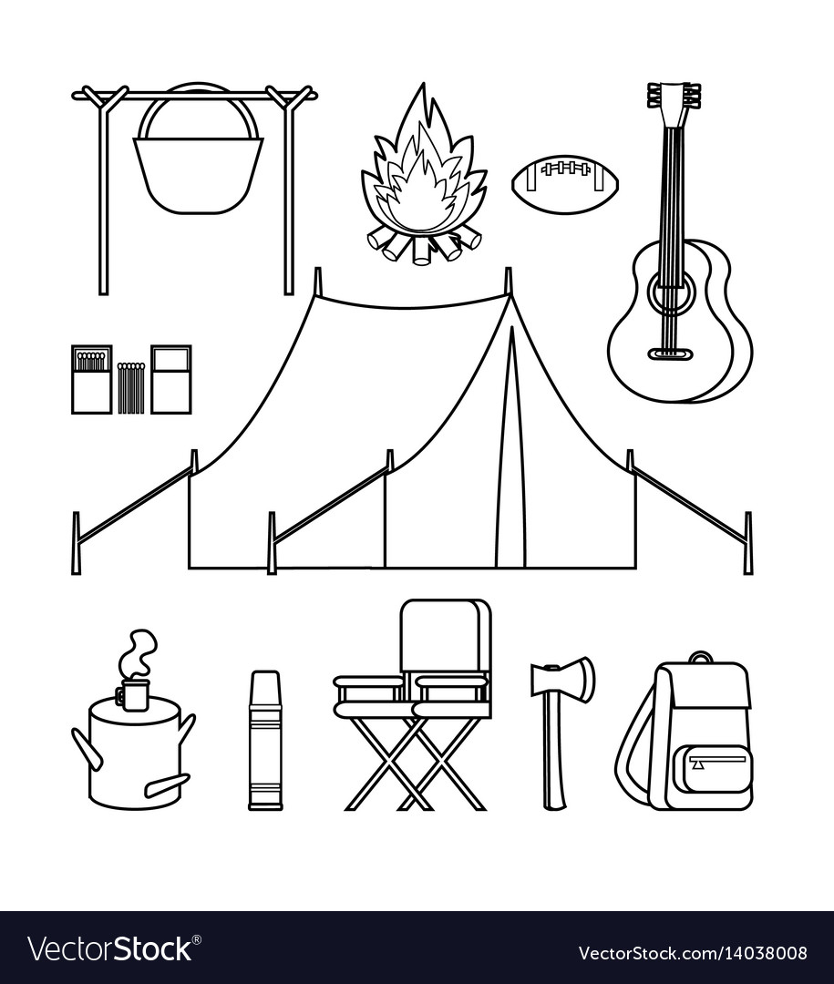 Hand drawn backpacking icons set