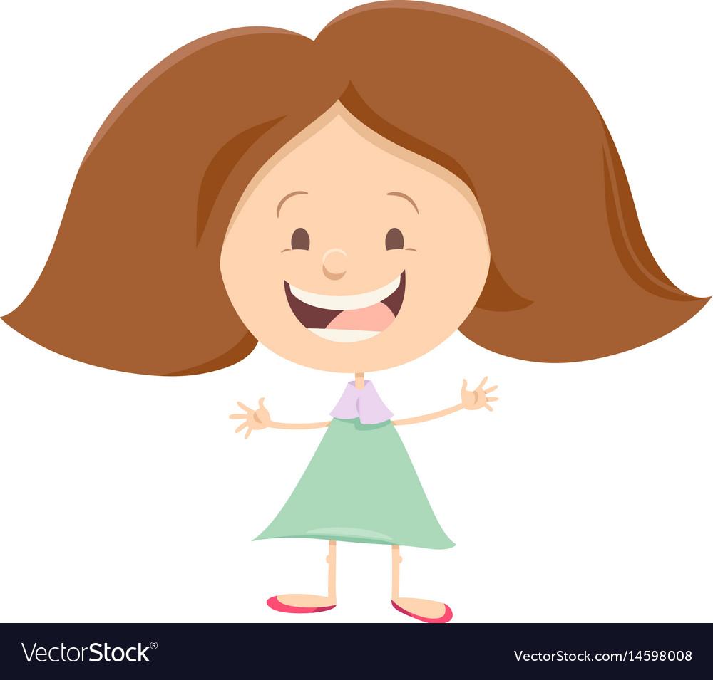 Happy girl cartoon character vector image