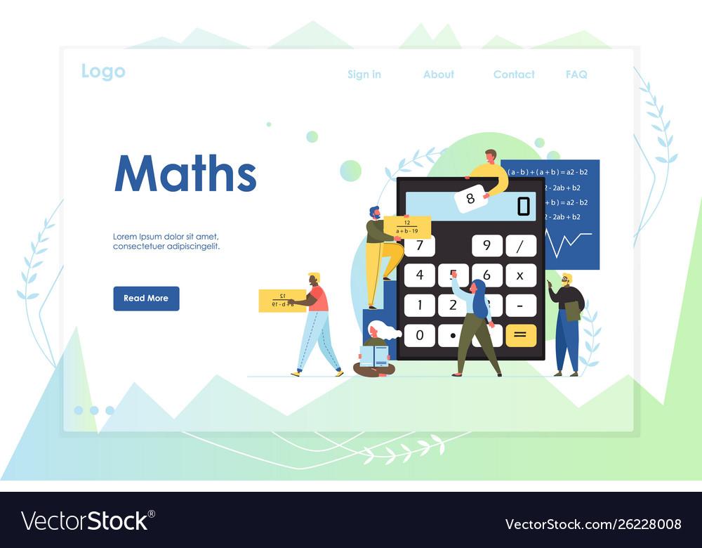 Maths website landing page design template