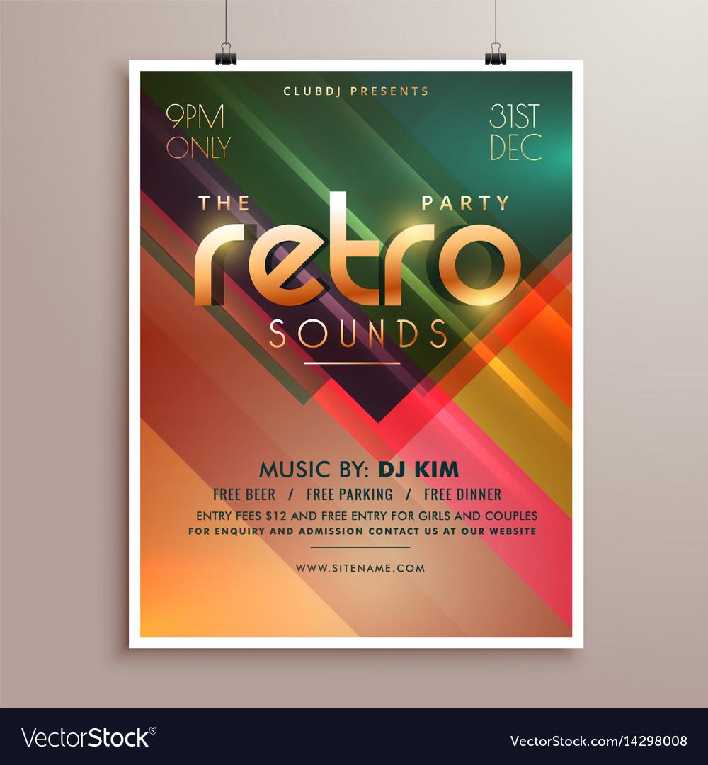 retro music party event flyer invitation template vector image