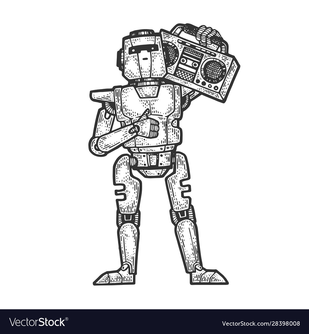 Robot with boombox music player sketch engraving