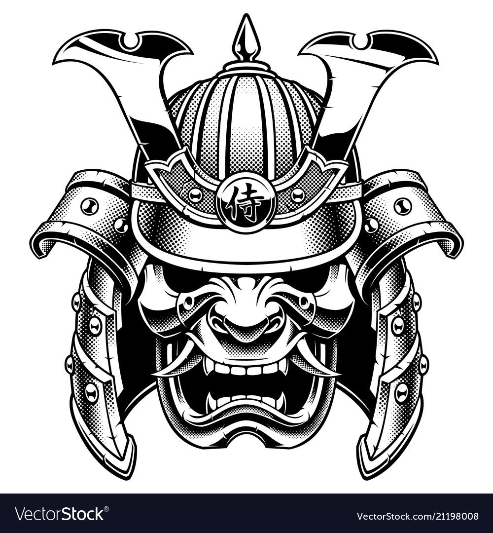 Samurai warrior mask bw version