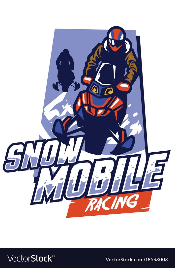 Snowmobile racing badge design