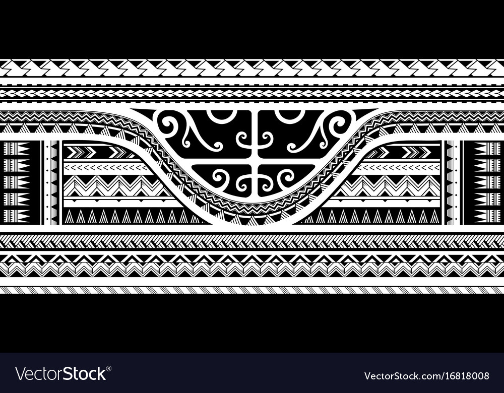 Tribal sleeve design with maori style elements vector image