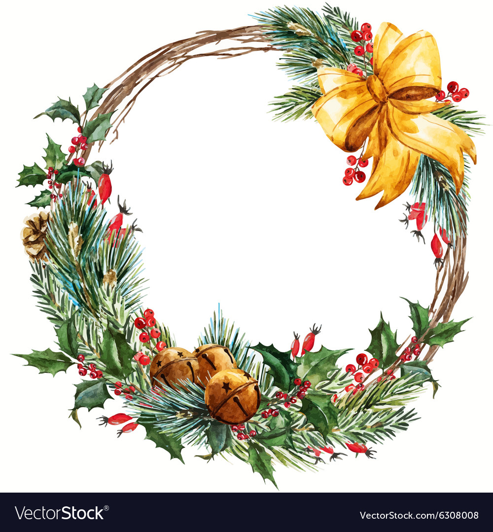 Watercolor christmas wreath Royalty Free Vector Image