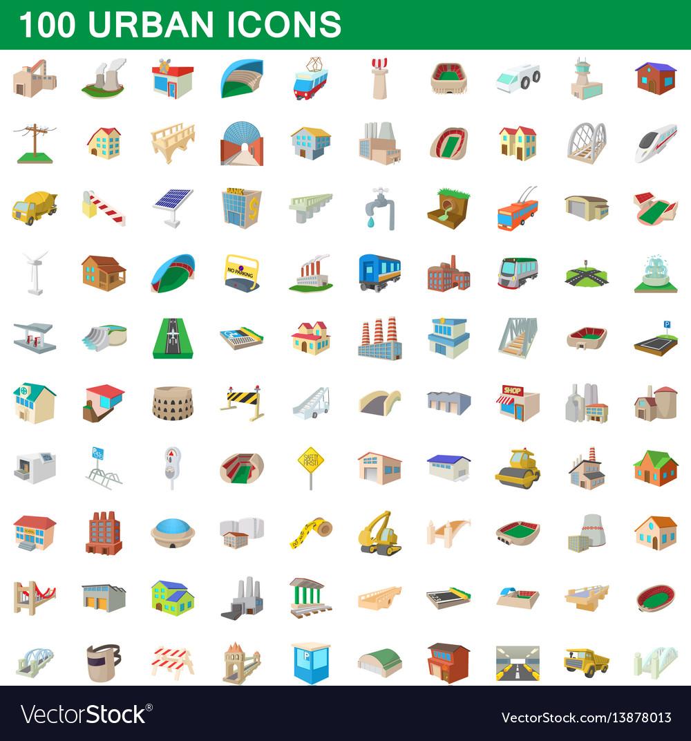 100 urban icons set cartoon style