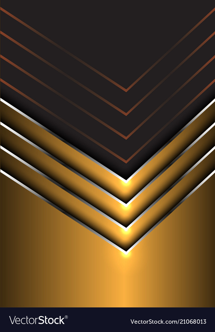 Abstract Gold Silver Arrow Direction On Dark Gray