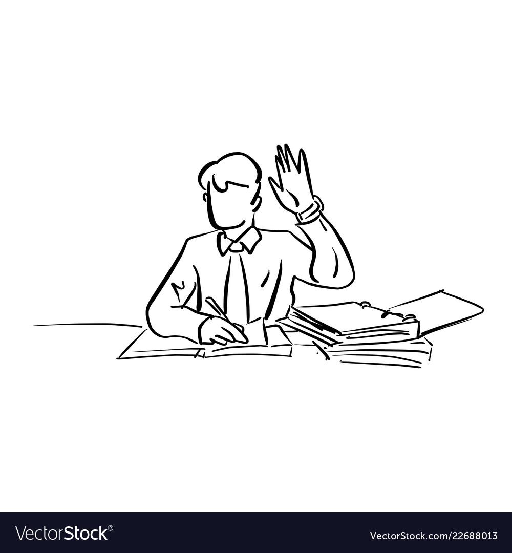 Businessman raising his hand up on working desk