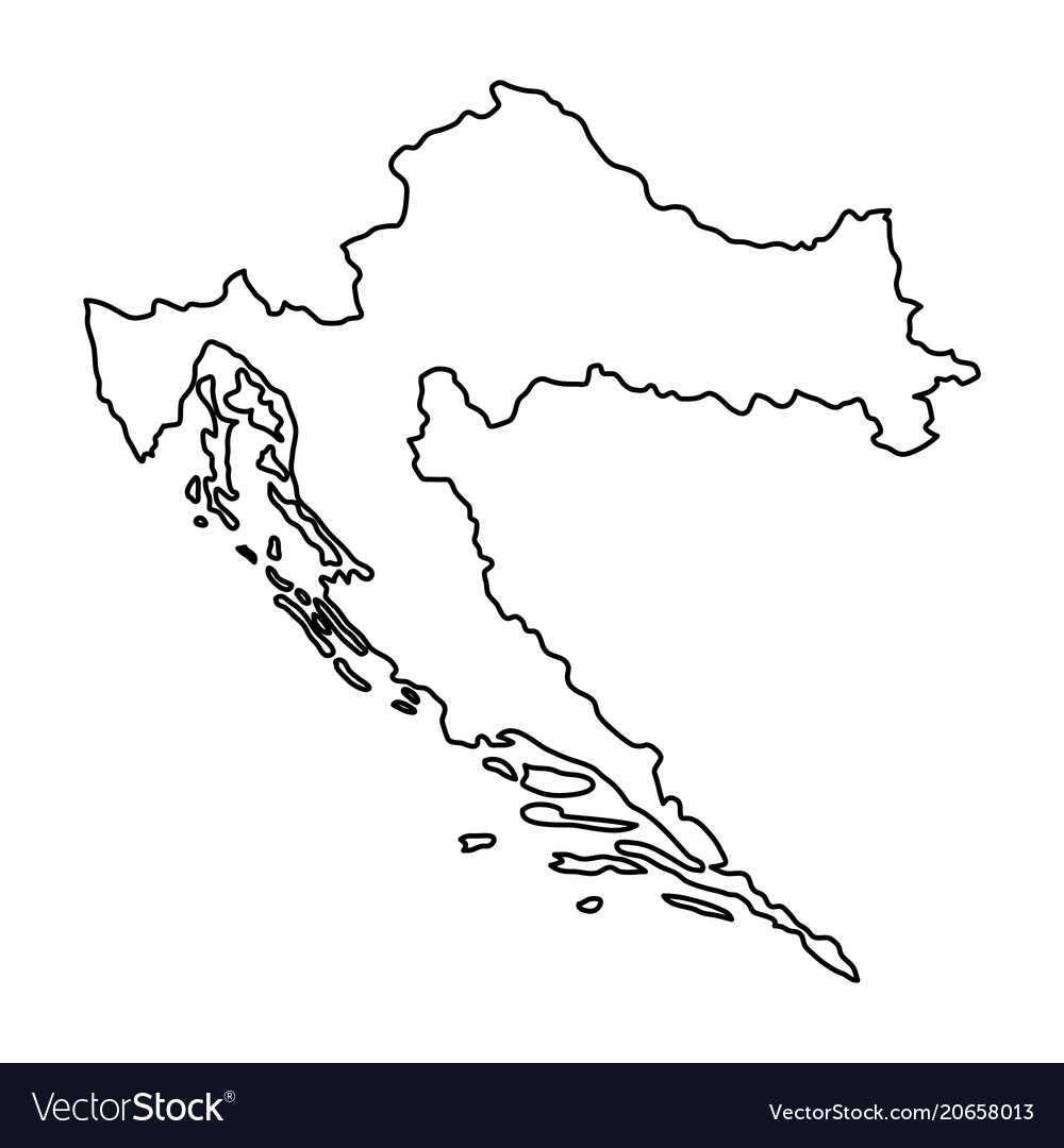 Croatia map of black contour curves of Royalty Free Vector
