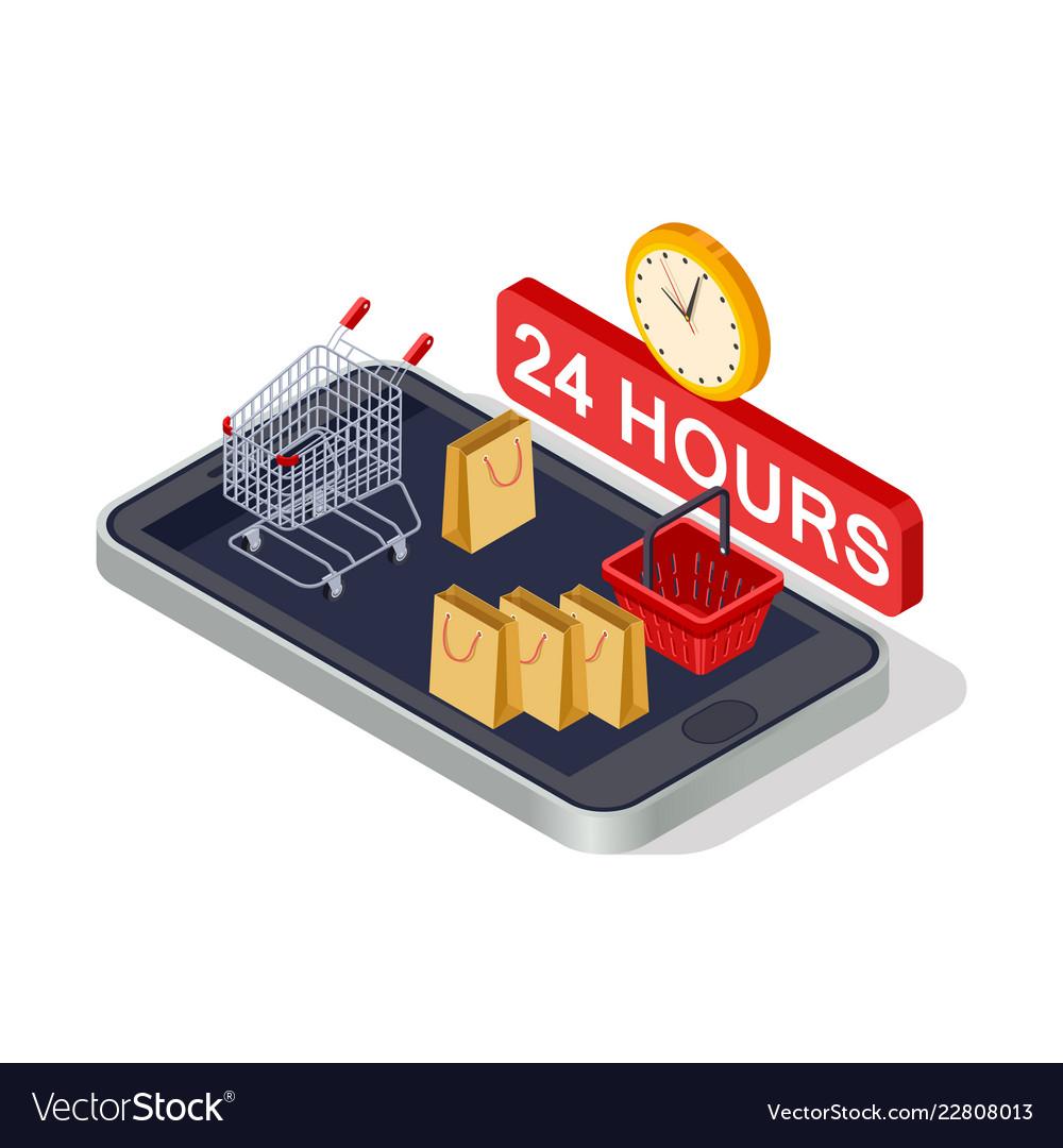 Digital marketing online shopping isometric
