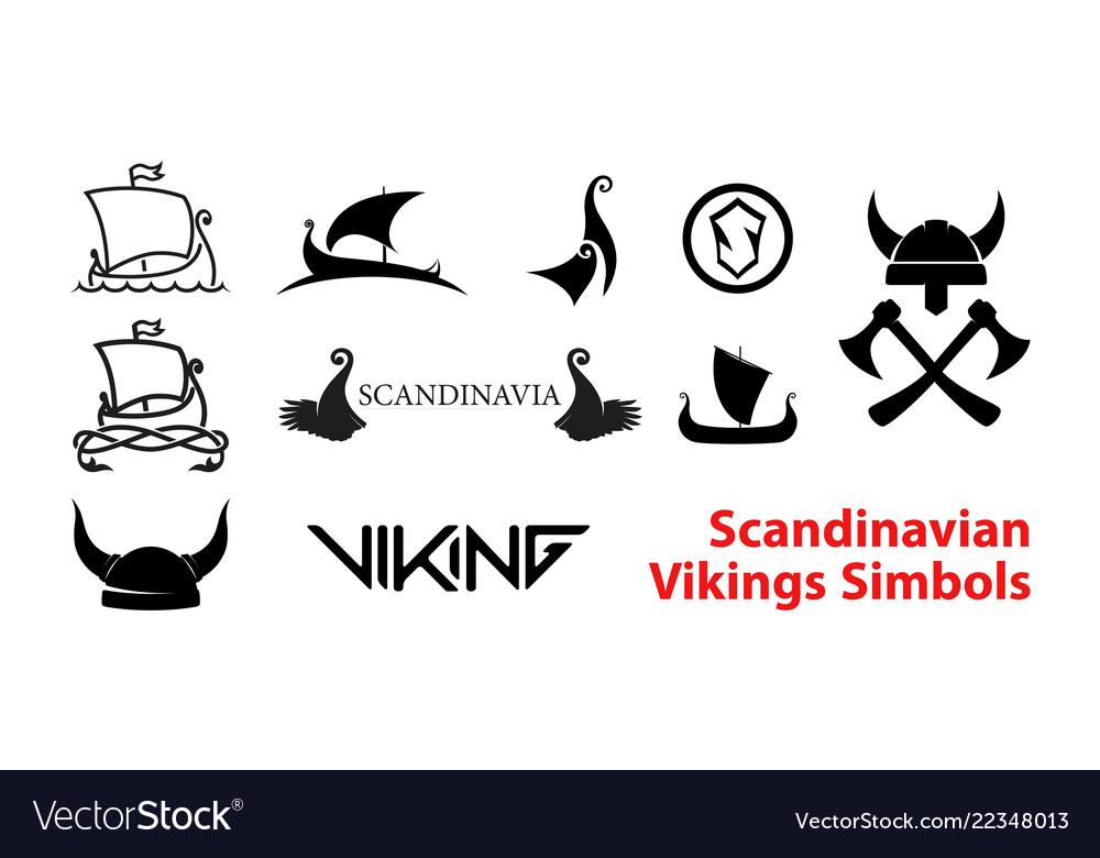 Flat scandinavian history emblems isolated on