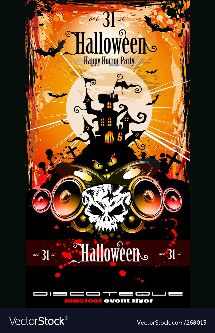 halloween party disco flyer royalty free vector image