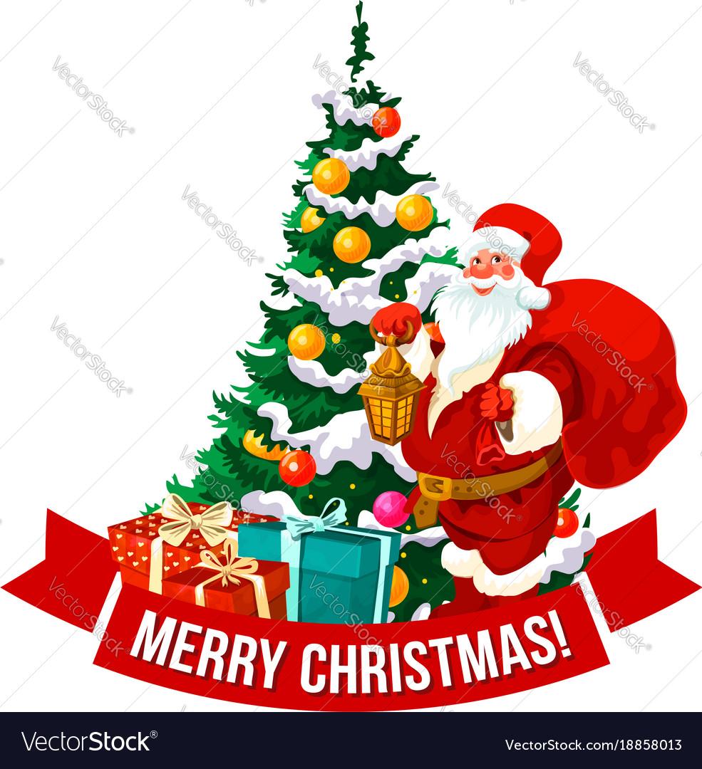 merry christmas santa and tree icon royalty free vector vectorstock