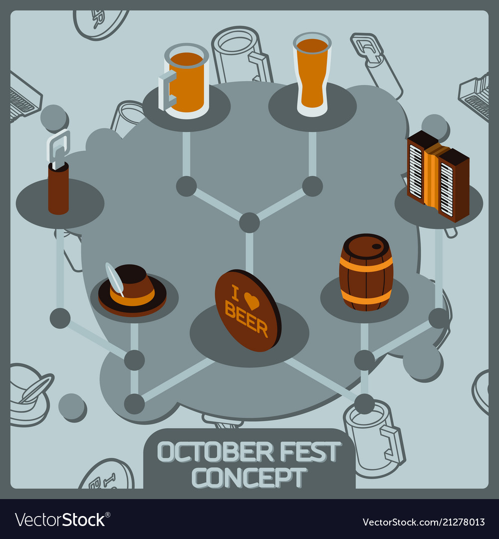 Octoberfest color concept isometric icons