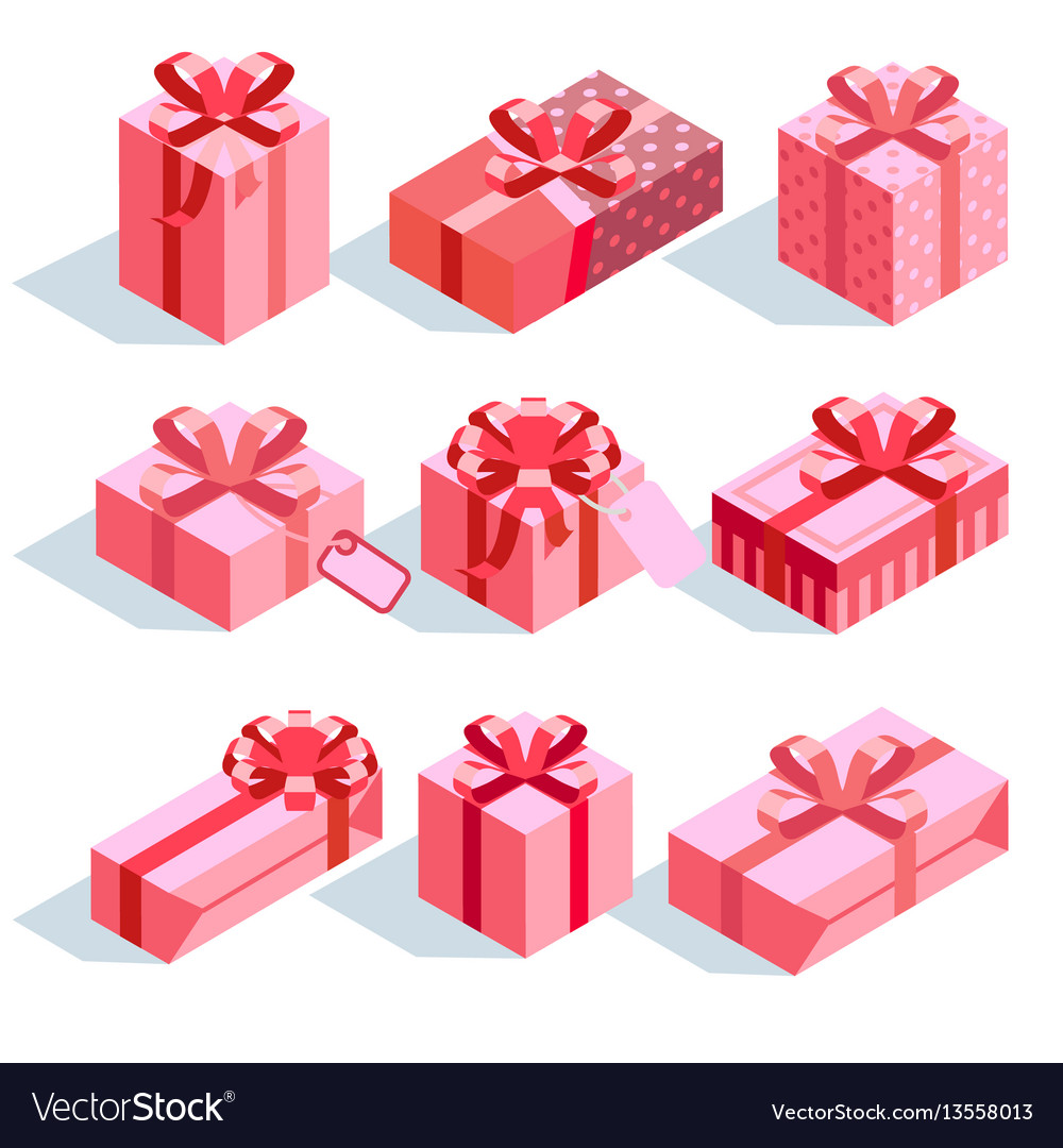 Pink gift boxes with ribbon bows icons set