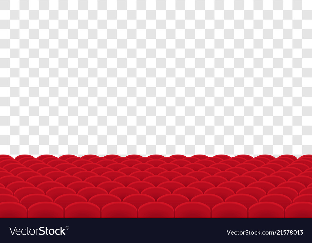 Rows of red seats on transparent background