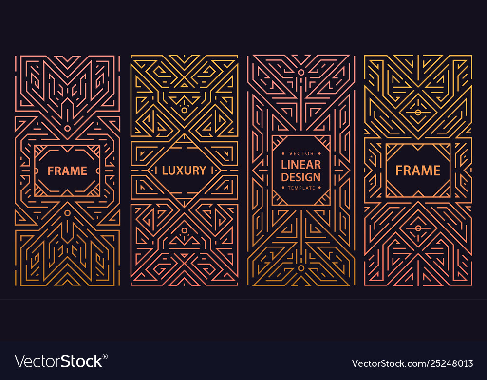 Set abstract art deco banners geometric