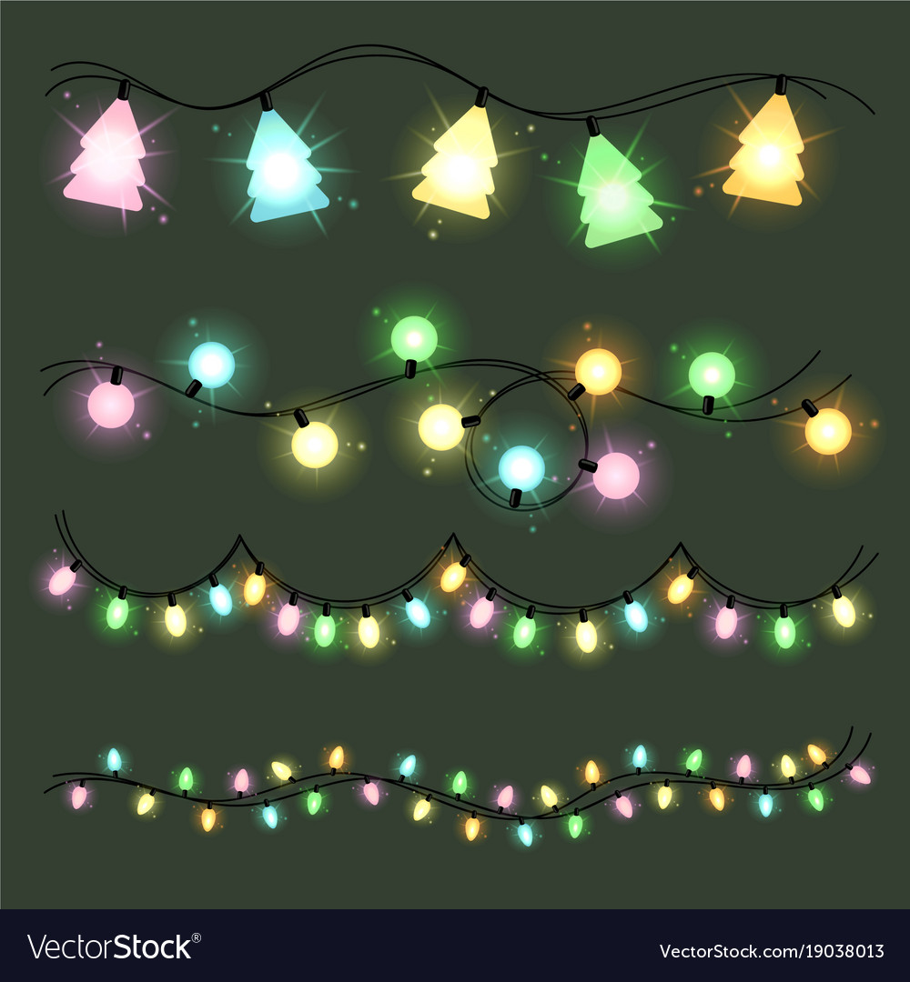 Set Of Christmas Lamps Garlands Warm Colour Light