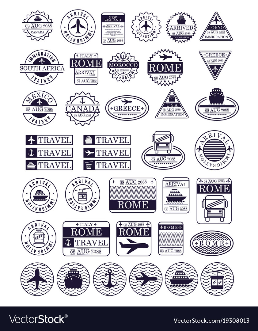 Travel stamps set in dark blue silhouette